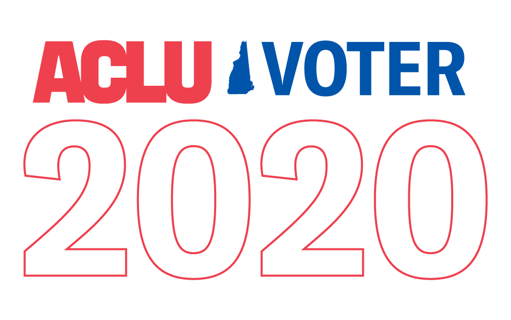 "Logo that reads ""ACLU Voter 2020"" with an outline of New Hampshire"