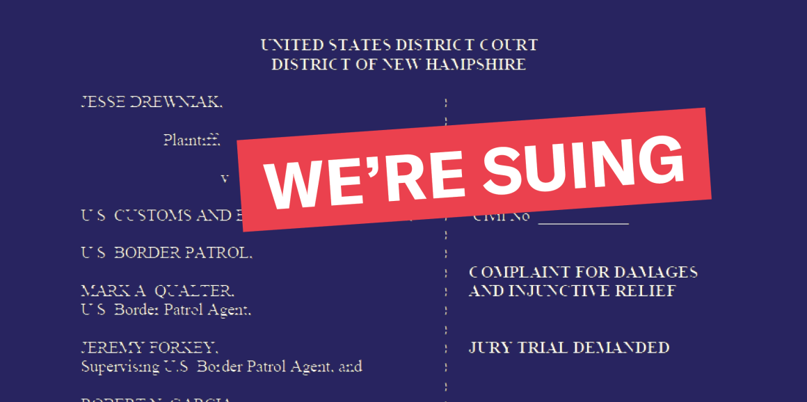 """Background of text from the court document, with red box that says """"we're suing"""""""