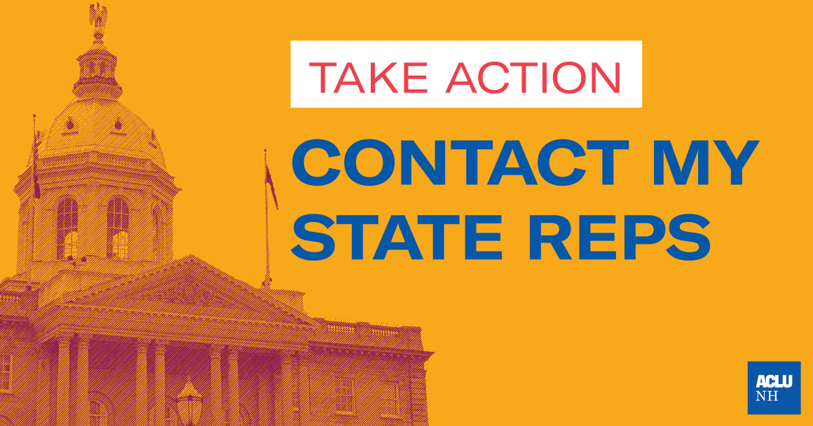 Graphic with State House that says: Take Action - Contact My State Reps